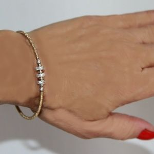 18Kt GP Coil and Sterling Silver Pave Bracelet